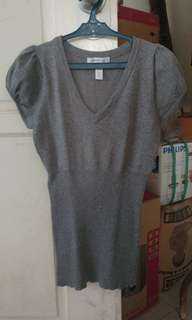 Ambiance Apparel Ribbed Blouse - Gray