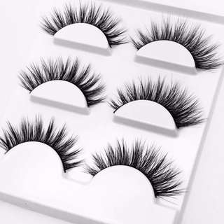 natural long false eyelashes - 3 pack