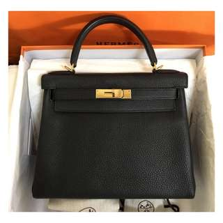 Authentic Hermes Kelly 28 Black Ghw