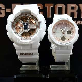 🚚 COUPLE💝PAIR SET BABYG GSHOCK DIVER CASIO SPORTS WATCH : 1-YEAR OFFICIAL WARRANTY: 100% ORIGINALLY AUTHENTIC BABY-G SHOCK-RESISTANT in White Rose Gold BEST FOR MOST ROUGH USERS & UNISEX: BGA-250-7A2DR / BGA-150CP / BA-110CP / BA-110 / BA110