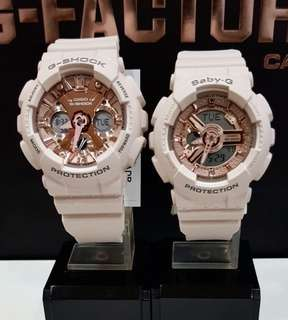 COUPLE💝PAIR SET in LATEST CASIO BABYG GSHOCK DIVER WATCH : 1-YEAR OFFICIAL WARRANTY: 100% ORIGINALLY AUTHENTIC BABY-G-SHOCK Resistant in HAZEL CARAMEL with Rose Gold Best For Most Rough Users: BA-110CP-4ADR & GMA-120MF-4ADR / BA110CP / BA-110 / BA110