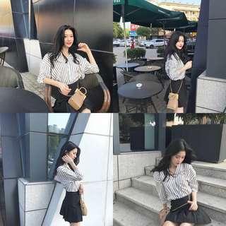 FREE POSTAGE Stripe Oversized Korean Blouse