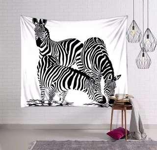 🚚 小預算佈置術斑馬條紋掛布壁畫直播背景微裝潢Decorative Cloth Hanging Cloth Mural