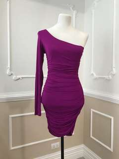 Forever 21 One Shoulder Purple Bodycon Dress