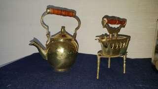 Vintage iron and teapot