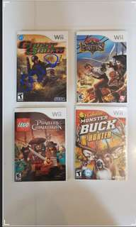 Wii Games (Original) - Ghost Squad/ Pirates!/ Lego/ Monster Buck Hunter