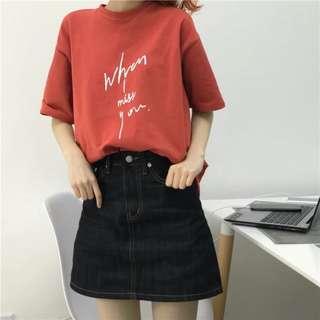 韓國流行簡約字母印花T恤