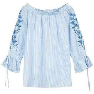 🌍Off shoulder embroidered sleeve 2 colors