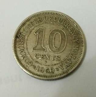 Malaya old coin 1950