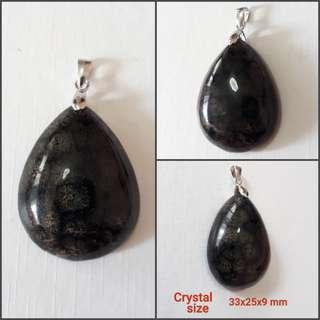 Russia Snow flake Obsidian pendant.(俄罗斯雪花石吊坠) set in 925 silver bail.