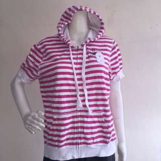 MOSSIMO plus size pink stripes sweater hooded with zipper xxl