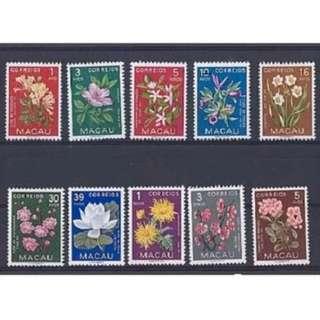 [lapyip1230] 澳門 1953年 花卉 (原膠新票無背貼) Set MNH