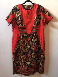 [BARU] (fit to 3L) Dress merah-bunga