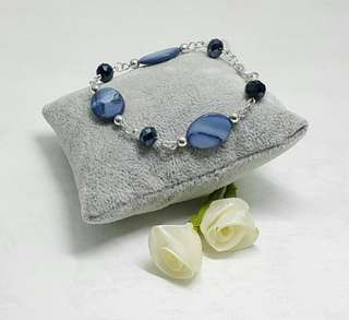 Natural Blue Ellipsoid Shell Bracelet