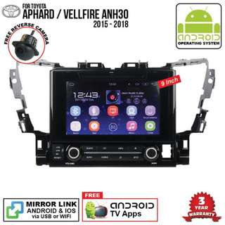 "Toyota Vellfire Alphard 2015 9"" Android DVD player"