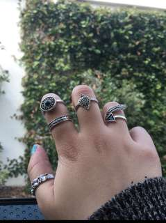 ohemian 10pcs/Pack Vintage Blue stone Rings Lucky Stackable Midi Rings Set Knuckle Ring Rings for Women Jewelry Party