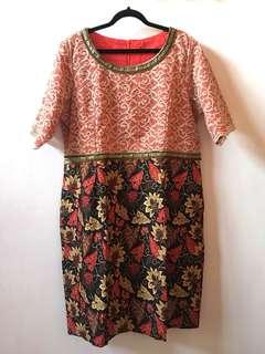 [BARU] (fit to 3L) Dress merah-brokat