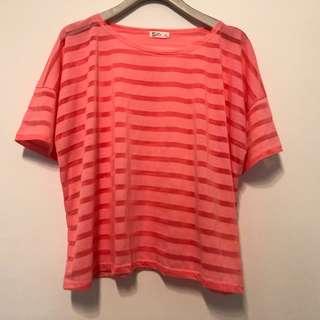 🚚 NET L號。女條紋粉紅色上衣。寬鬆。170/88。運動。
