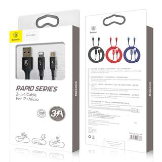 Baseus 二合一快速充電線 2-in-1 Cable For iPhone +Micro