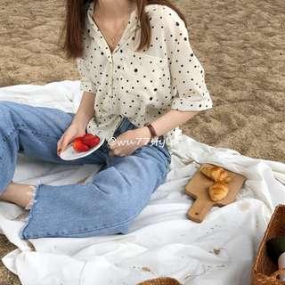 🚚 韓國復古著點點圓點雪紡襯衫上衣
