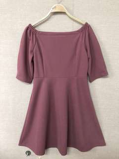 出清特價全新乾燥玫瑰粉ㄇ字領腰身洋裝