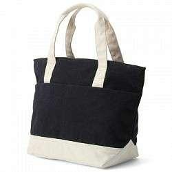 全新MUJI無印良品撥水加工有機棉雙口袋托特包/小深藍×原色