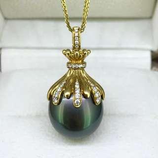 稀有大粒無瑕大溪地黑珍珠孔雀綠吊墜 15.93mm 18K金鑲嵌鑽石 厚金 無暇滑皮 強光澤。
