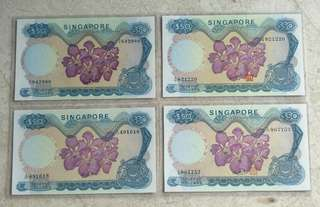 A SET 4 PCS SINGAPORE $50 ORCHID COMPLETE SIGNATURE AU