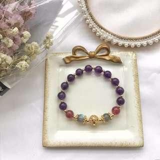 s925銀鍍金圓珠 天然紫水晶+草莓晶手鏈