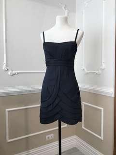 Navy Blue Satin Mini Dress