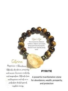 Citrine , pyrite , tiger's eye bracelet ( for wealth )