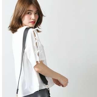 🚚 日本購入WEGO綁帶蝴蝶結袖設計感棉質短袖T恤