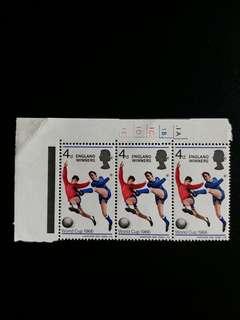 英國郵票1966年全新足球世界杯英格蘭冠軍三方連