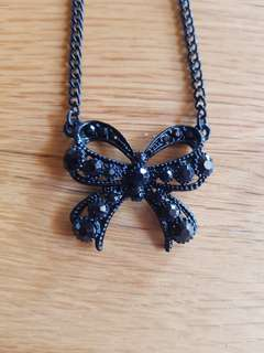 Black Bow Necklace with Gems