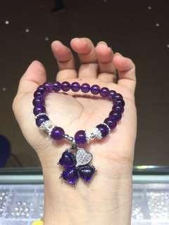 天然8mm紫水晶手鏈+925銀吊飾