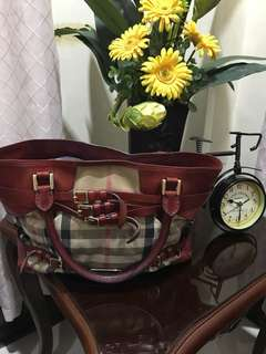 Authentic Burberry Bridle House Tote in Red