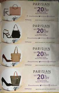 20% Off on regular priced Parisian shoes and bags
