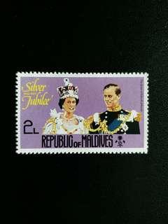 英屬馬爾代夫郵票 1977年全新英女皇登基25周年