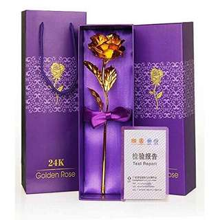 24 k gold rose flower with gift box and handcarry bag