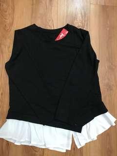 Korean style black blouse