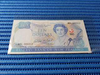 1990 New Zealand $10 Ten Dollars Commemorative Note MBL 086012 Dollar Banknote Currency Commemorating The Signing of the Treaty of Waitangi 1840