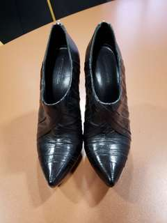 Alexander Wang black pleated leather booties size 37