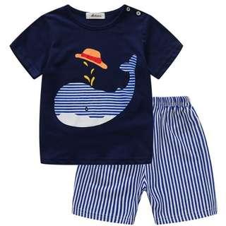 2pcs Set Tshirt Short Sleeve and Shorts Baju Budak