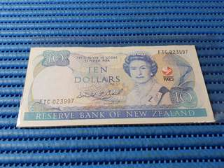 1990 New Zealand $10 Ten Dollars Commemorative Note FTC 023997 Dollar Banknote Currency Commemorating The Signing of the Treaty of Waitangi 1840