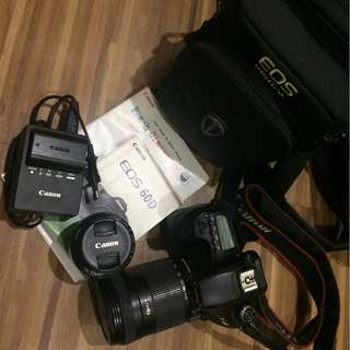 CANON 60d DSLR with 50mm and 18-135mm lenses