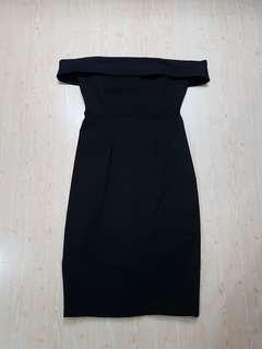 Sabrina bodycon black dress