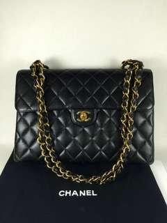 Vintage Chanel黑色魚子醬菱格金扣jumbo flap bag 30x21x9cm