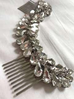 🚚 Bridal hair piece, crystal drops, romantic rustic