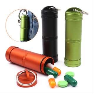 Aluminum Alloy Sealing Waterproof Stick Emergency Medicine Bottle 铝合金全密封防水罐 户外急救药瓶#476