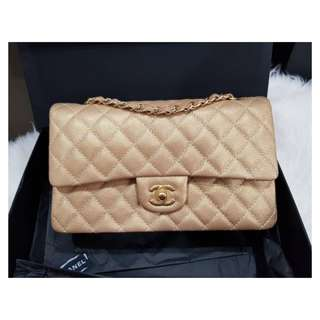 Authentic Chanel Classic Medium Gold Caviar